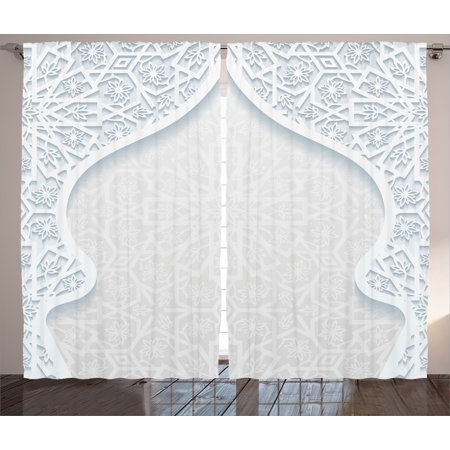 Traditional House Decor Curtains 2 Panels Set, Arabesque Arched Royal Persian Figure with Floral Cultural Graphic, Window Drapes for Living Room Bedroom, 108W X 84L Inches, Light Blue, by - Decorating Arched Window