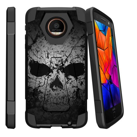 Case for Motorola Moto Z Force Droid | Hybrid Cover [ Shock Fusion ] High Impact Shock Resistant Shell Case + Kickstand - Faded Skull