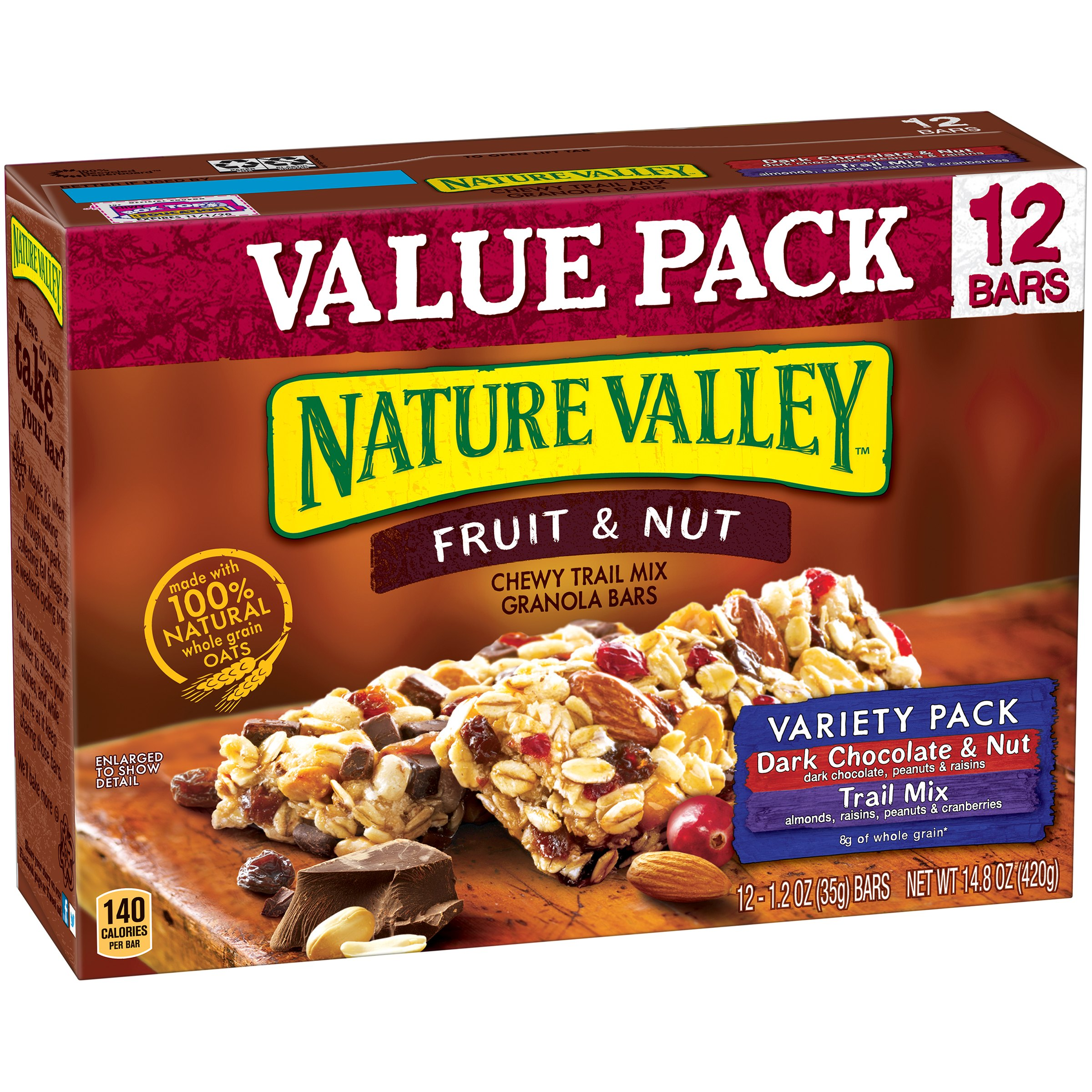 (4 Pack) Nature Valley Chewy Granola Bar Trail Mix Variety Pack of Dark Chocolate & Nut and Fruit & Nut 12 - 1.2 oz Bars