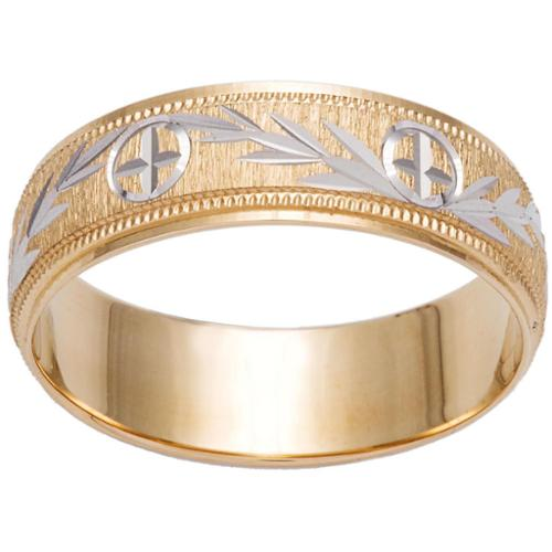 Dimaya Two-tone 14k Gold Milligrain Cross and Leaf Design Wedding Band