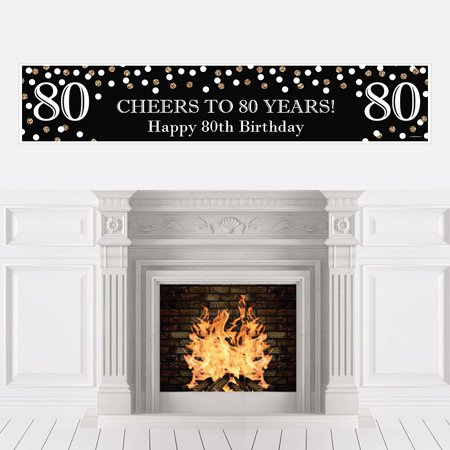 Adult 80th Birthday - Gold - Birthday Party Decorations Party Banner