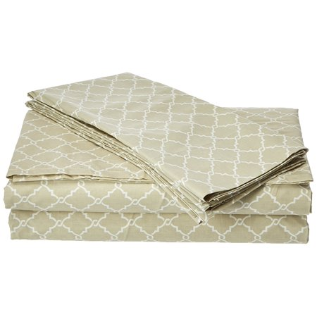 MP20-2365 Fretwork Cotton Sheet Set King Tan,King, Set includes: 1 flat sheet, 2 pillowcases, 1 fitted sheet By Madison (Madison Fitted Sheet)