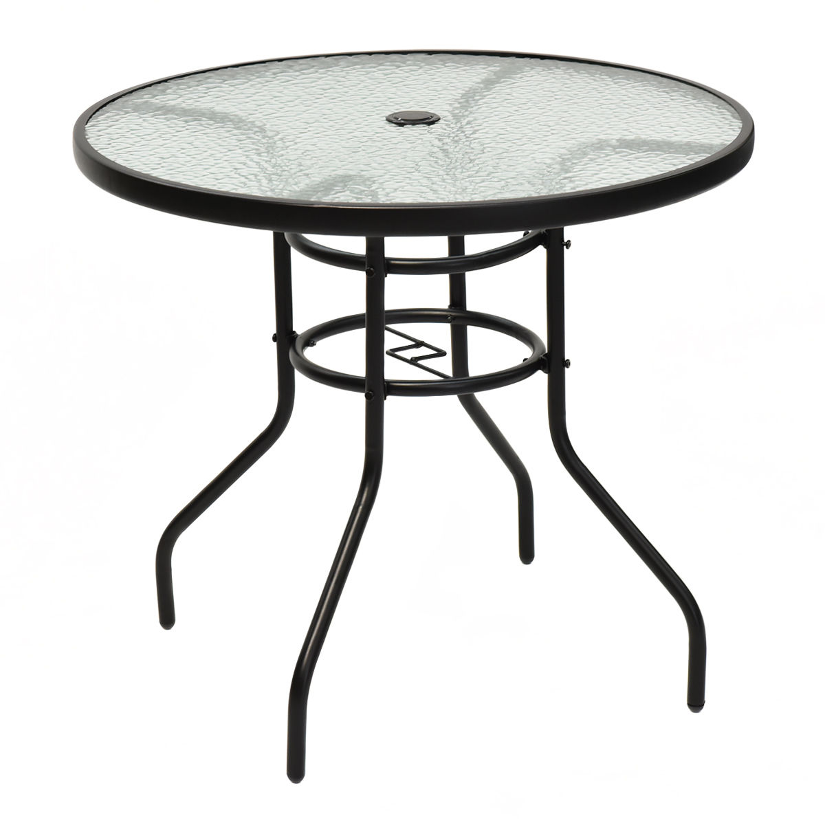 31.5'' Patio Round Table Tempered Glass Steel Frame Outdoor Pool Yard - image 7 de 7