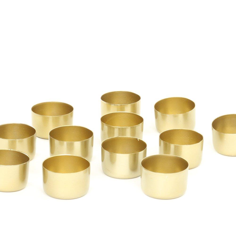 Koyal Wholesale Gold Metal Tealight Candle Holder Cups, Set of 12, Metallic Tea Light Holders