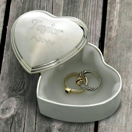 Personalized Heart Trinket Engraved - Gold Round Trinket Box