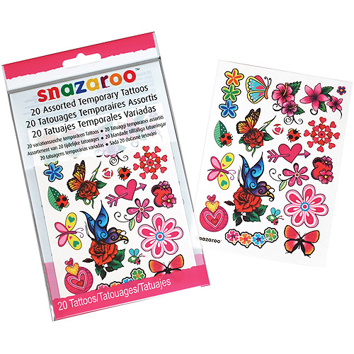 Snazaroo Girls Assorted Temporary Tattoos, 20Pk