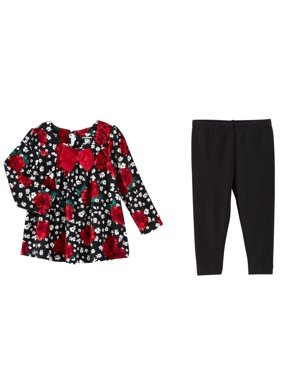 12f6ff7b133 Product Image Infant Girls Red   Black Rose Print Floral Baby Outfit Shirt    Leggings Set. Koala