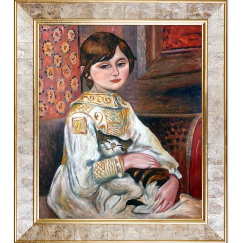 La Pastiche Julie Manet with Cat, 1887 by Pierre-Auguste Renoir Framed Painting Print