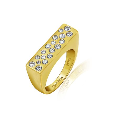 Gold 18K Plated Sterling Silver 1 ct Cubic Zirconia Fashion Band Ring- Size 6