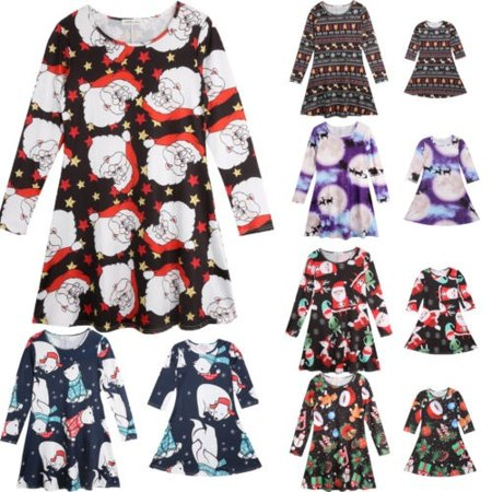Xmas Family Matching Women Girl Mother Daughter Christmas Santa Dress Set