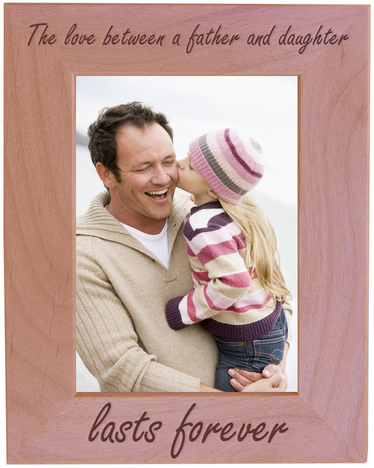 a daughter/'s first love Personalized natural wood 5x7 Father/'s Day Picture Frame A Son/'s first hero