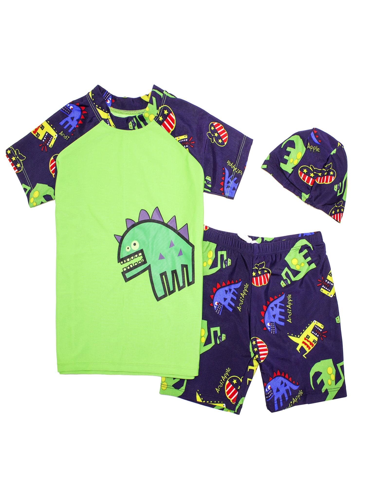 a7ed885cfc StylesILove - Kids Boy Cartoon Dinosaur Shark Rashguard Top & Swim Shorts  with Hat 3 pcs Set (Green Dinosaur/Yellow, 3XL/11-13 Years) - Walmart.com