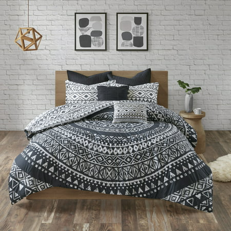 7pc Mica Cotton Reversible Comforter Set (Full/Queen) Black