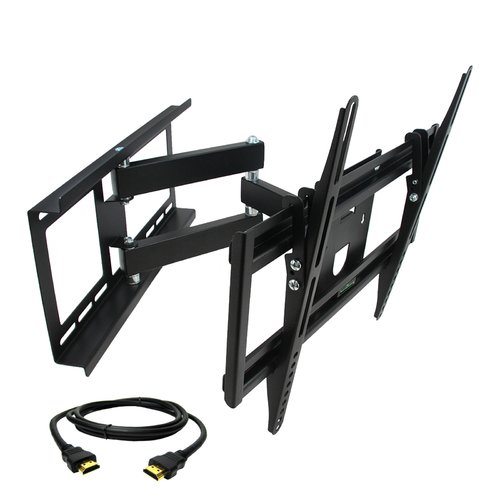 MegaMounts Full Motion Wall Mount with Bubble Level for 26-55 in. Displays with HDMI Cable