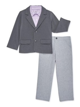 Wonder Nation Baby & Toddler Boys Jacket, Woven Shirt, & Pants, 3-Piece Dressy Easter Outfit Set