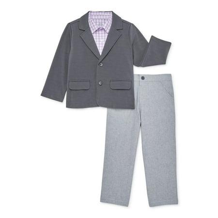 Wonder Nation Boys Jacket, Woven Shirt, & Pants, 3-Piece Dressy Outfit Set, Newborn-5T Jacket Top Skirt Pants