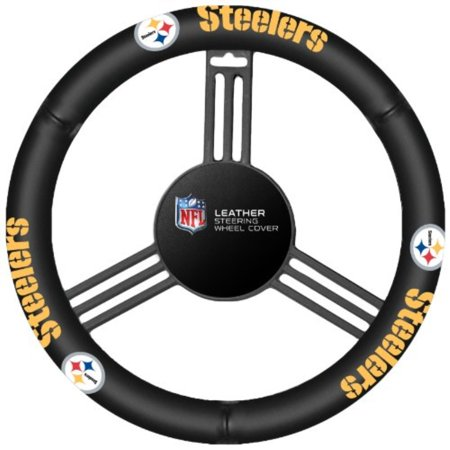 NFL Pittsburgh Steelers Leather Steering Wheel Cover - image 1 de 1