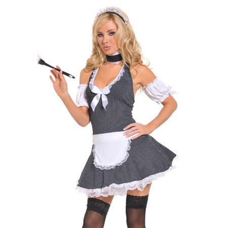 Seven Til Midnight Sexy Retro Polka Dot French Maid Halloween Costume (French Maid Costume Halloween)