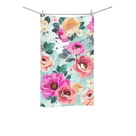 MKHERT Beautiful Seamless Floral Pattern Bath Towel Shower Towel Wash Cloth Face Towels 16x28 inches (Floral Bath Towels)