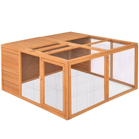 - Gymax Wooden Rabbit Hutch Chicken Coop Bunny Small Animals Cage House