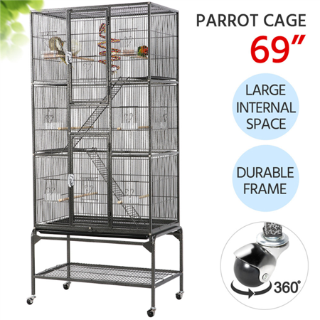 Yaheetech 69''H Extra Large Pet Cage for Small Animal, Mobile Large Bird Cage Parrot Cage for African Grey Sun Conures Parakeets Cockatiels, Large Rolling Metal Pet Cage with Detachable