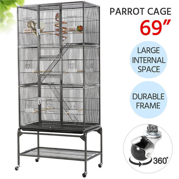 Yaheetech 69''H Extra Large Pet Cage for Small Animal, Mobile Large Bird Cage Parrot Cage for African Grey Sun Conures Parakeets Cockatiels, Large Rolling Metal Pet Cage with Detachable Stand