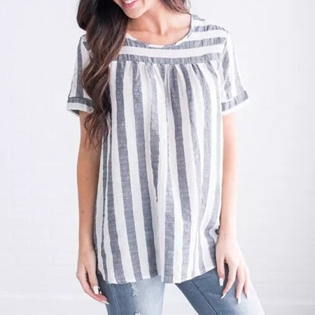 Women Summer Shirts Striped Short Sleeve Crew Neck Loose Casual Blouse Tops T Shirt Grey S ()
