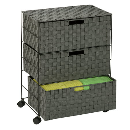 Honey Can Do Rolling Storage Chest with 3 Woven Drawers, Salt and Pepper