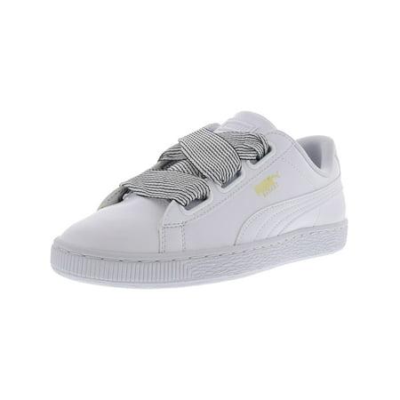 Puma Women's Basket Heart White / Ankle-High Leather Fashion Sneaker - (Puma Basket Heart Sneakers In Black Velvet)