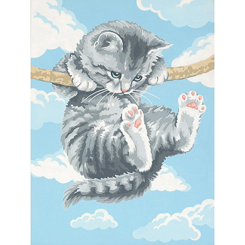 Learn To Paint! Paint By Number Kit 9 Inch X 12 Inch-Hang On Kitty