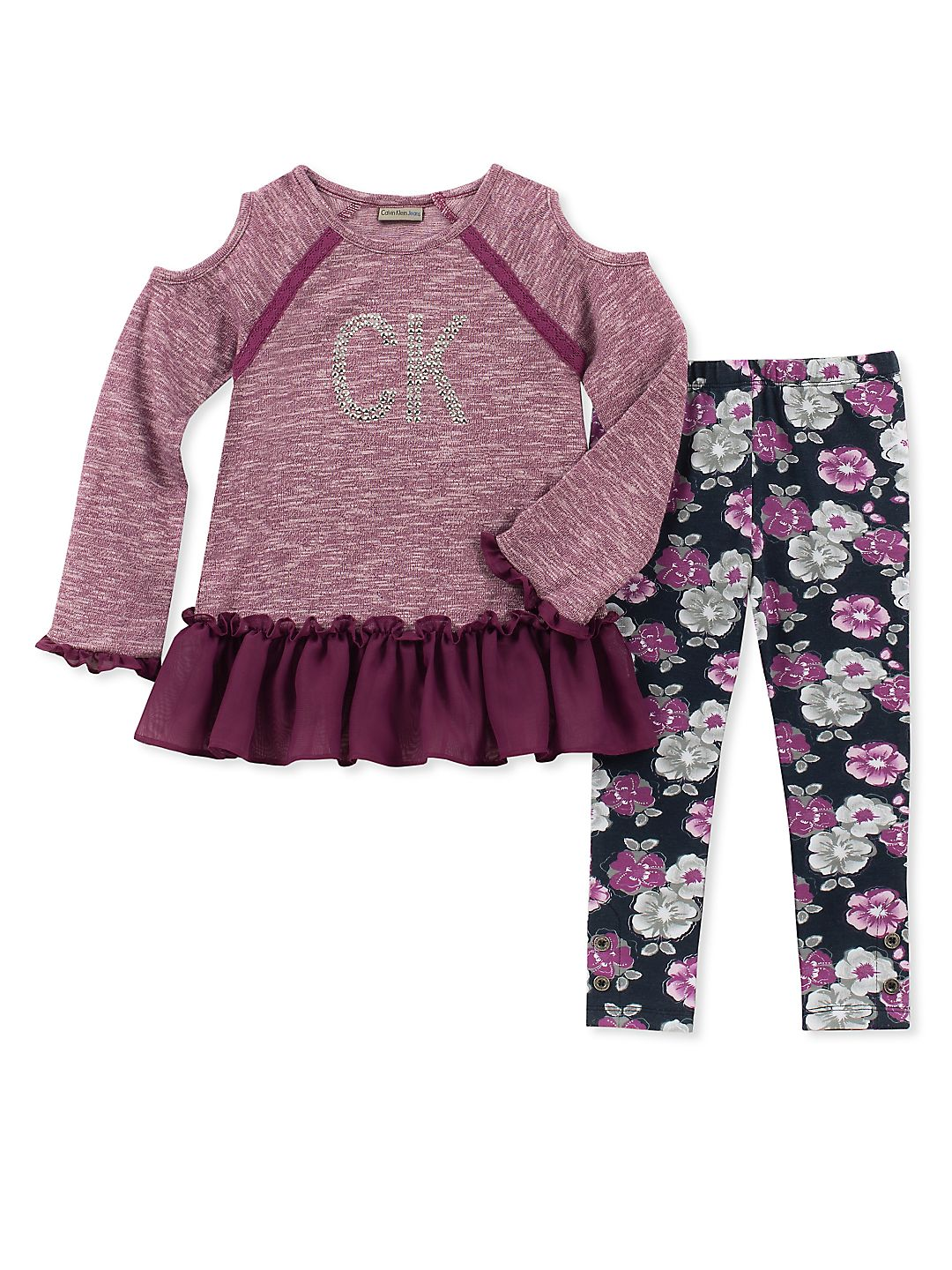 Little Girl's Two-Piece Cold-Shoulder Tunic & Floral Leggings Set