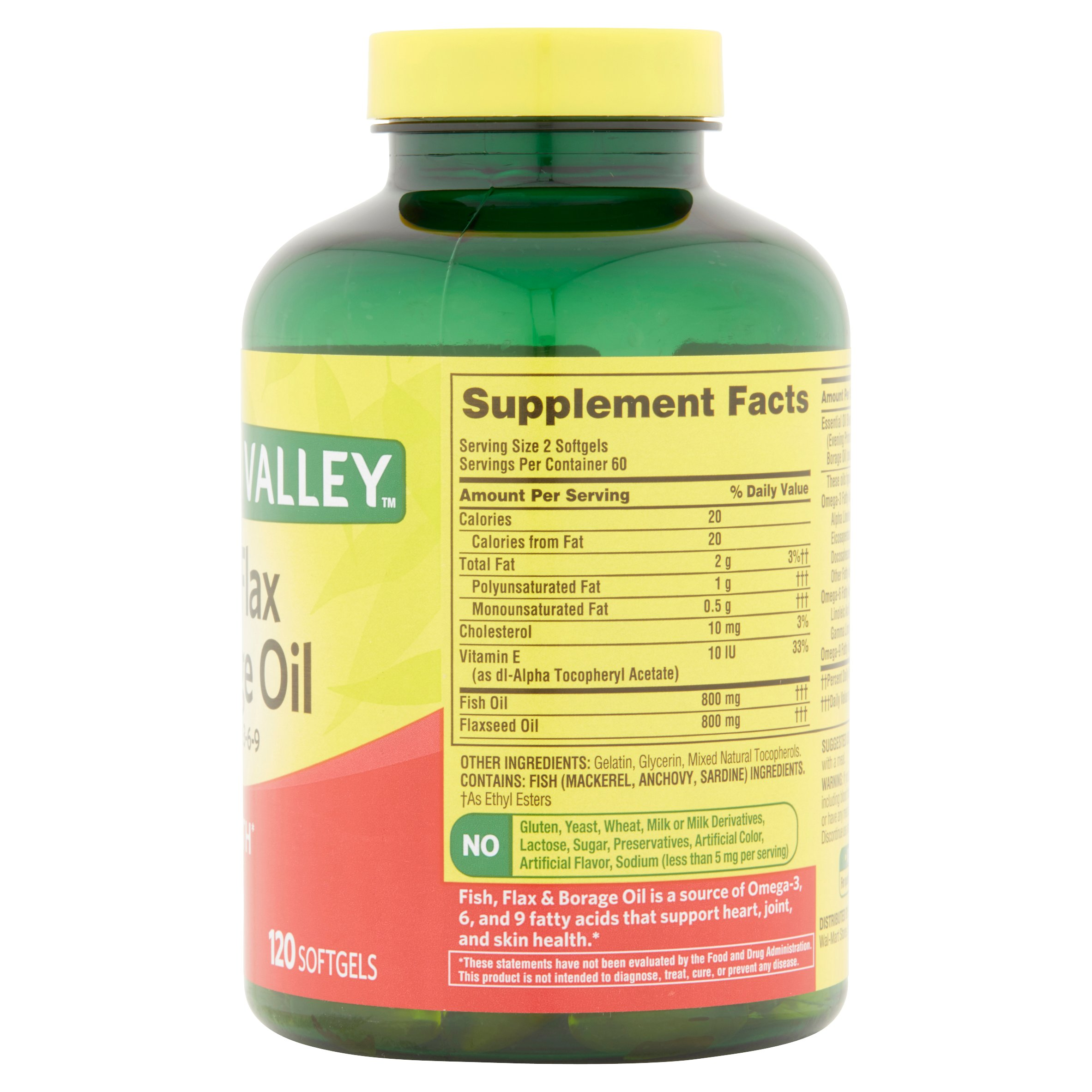 Spring Valley Fish, Flax & Borage Oil Softgels for Heart Health, 120 Ct