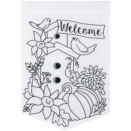 Carson Applique Color Me Garden Flag - Autumn