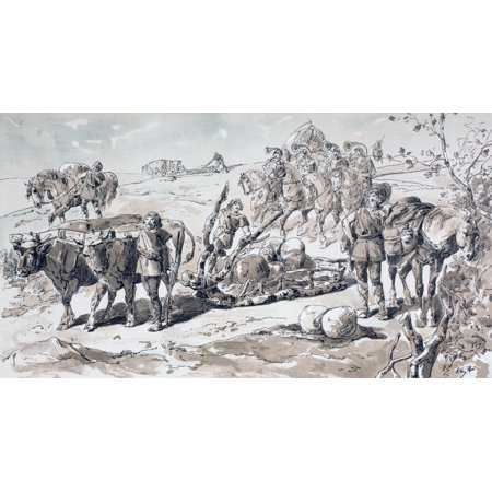 Oxen Drawing A Primitive Sled Laden With Rocks After A Watercolour By A Heins From Cortege Historique Des Moyens De Transport Published Brussels 1886 Canvas Art - Ken Welsh Design Pics (20 x 10)