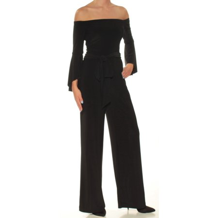 c3d3c6a482f RALPH LAUREN - RALPH LAUREN Womens Black Belted Bell Sleeve Off Shoulder  Wide Leg Jumpsuit Petites Size  16 - Walmart.com