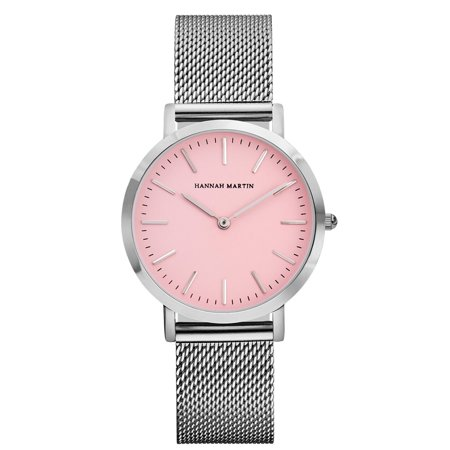 Women's Fashion Silver Stainless Steel Mesh Band Pink Dial Quartz Analog Wirst Watch Dress Watch for Ladies