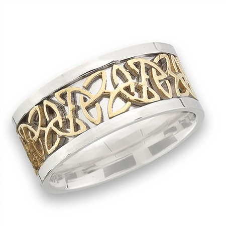 Celtic Trinity (Gold-Tone Celtic Trinity Knot Wedding Ring New Stainless Steel Band Size)