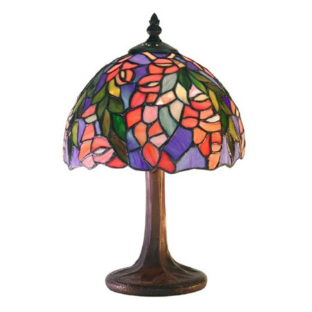 (Warehouse of Tiffany M23-SB21 Tiffany-style Floral Table Lamp Red/Blue)