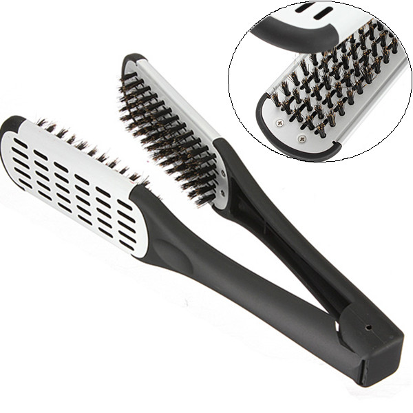 Hairdressing Straightener Ceramic Hair Straightening Double Brush Comb Clamp