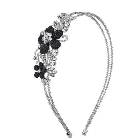 Lux Accessories SilverTone Crystal Rhinestone Black Glitter Flower Coil - Black Glitter Headband