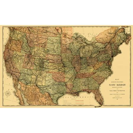 (Old Railroad Map - Pacific Railroads - Rand McNally 1883 - 36.94 x 23)
