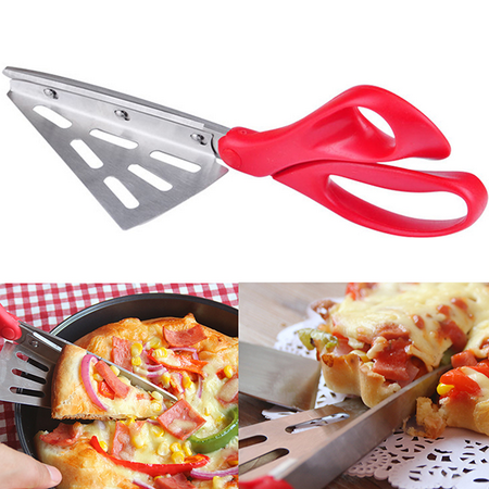 2 in 1 Pizza Scissors Slicer Cutter Server Tray Food Serving Tools Cook Gadget ()