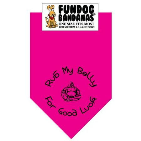 Fun Dog Bandana - Frottez mon ventre pour la bonne chance - Taille unique pour Med à Lg Chiens, écharpe animal rose chaud