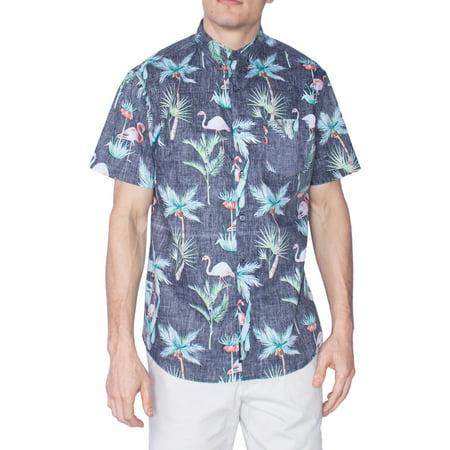 0ceda963 Visive - Flamingo Hawaiian Shirt Aloha Tropical Short Sleeve Button Down Up  Shirts Black - L - Walmart.com