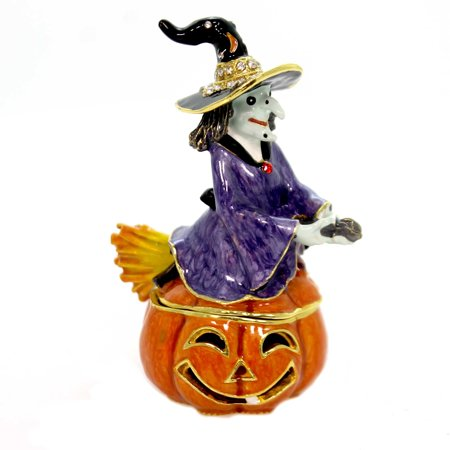 Hinged Trinket Box WITCH ON JACK O LANTERN Metal Pumpkin Halloween Broom 3302
