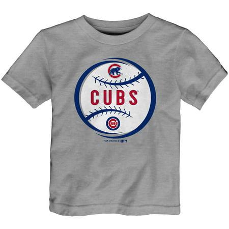 Mlb Circle - Toddler Heathered Gray Chicago Cubs Circle Logo T-Shirt