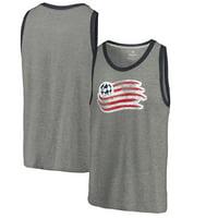 New England Revolution Fanatics Branded Distressed Primary Logo Tri-Blend Tank Top - Heathered Gray