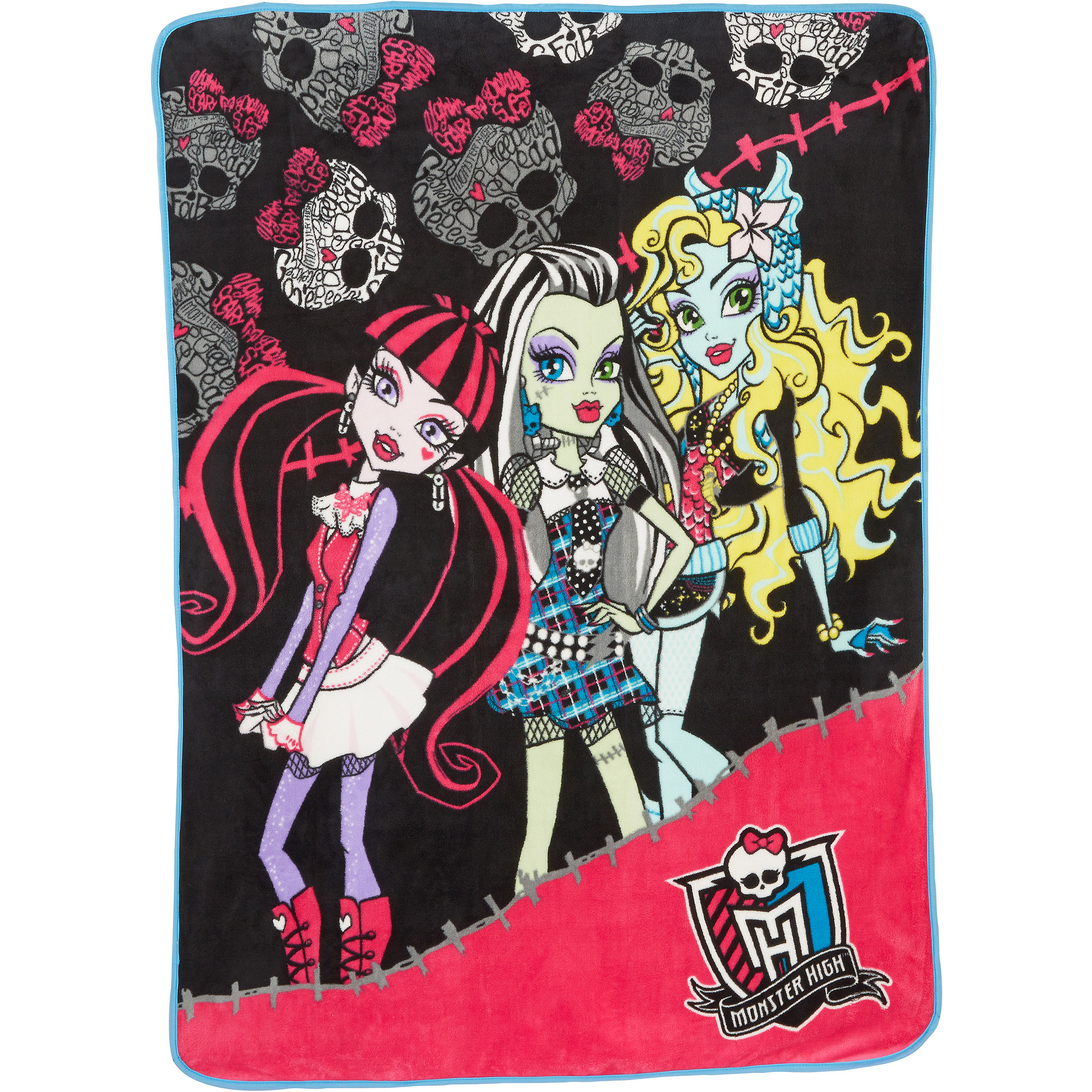 "Monster High Forever Ghouls Micro Raschel 46"" x 60"" Throw, Black"