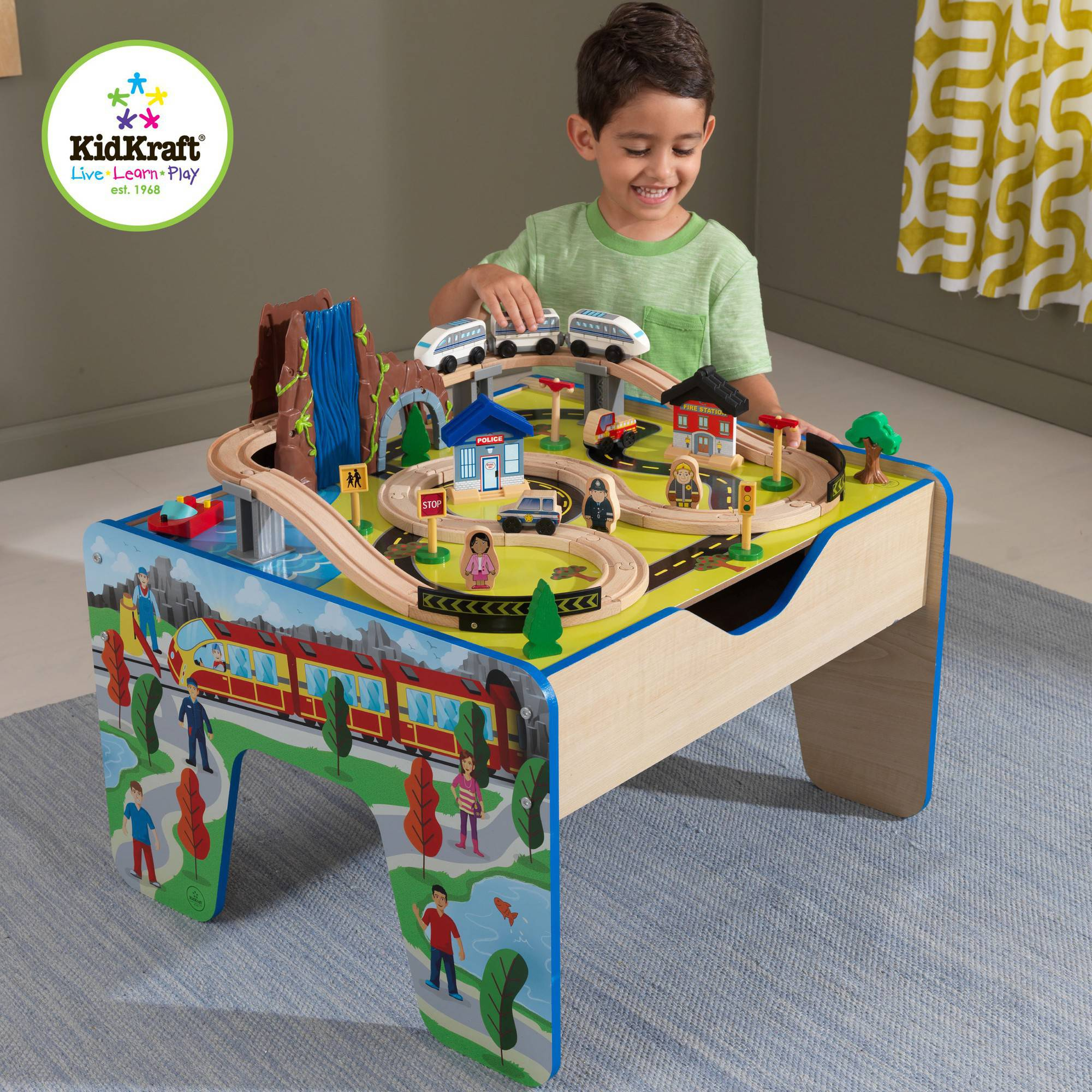 KidKraft Rapid Waterfall Train Set 48 pcs and Wooden Table