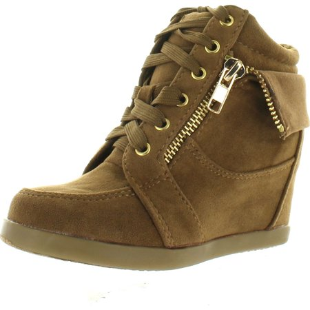 Peter Gladys24 Kids Tan Fashion Leatherette Suede Lace-up High Top Wedge Sneaker Bootie